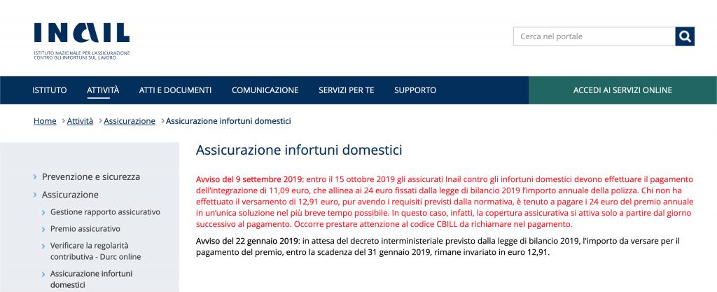 Inail assicurazione casalinghe 2019 scadenza integrazione 15 Ottobre, Sportello Mamme